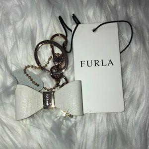 FURLA leather bow keychain NWT